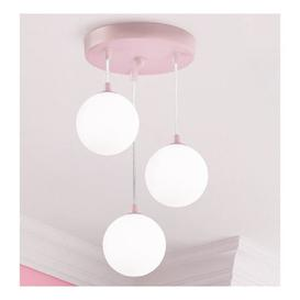 image-Kids Wall Hung 3 Pendant Light In Pink With White Opal Glass