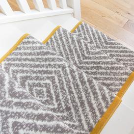 image-Beige Diamond Print Stair Carpet Runner - Cut to Measure