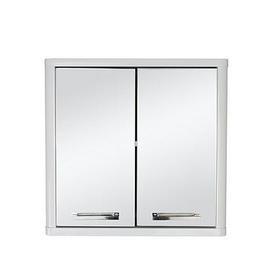 image-Lloyd Pascal Luna Hi-Gloss 2 Door Mirrored Bathroom Cabinet - White