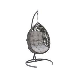 image-Lario Garden Hanging Egg Chair, Storm Grey Weave and Ash Grey Fabric