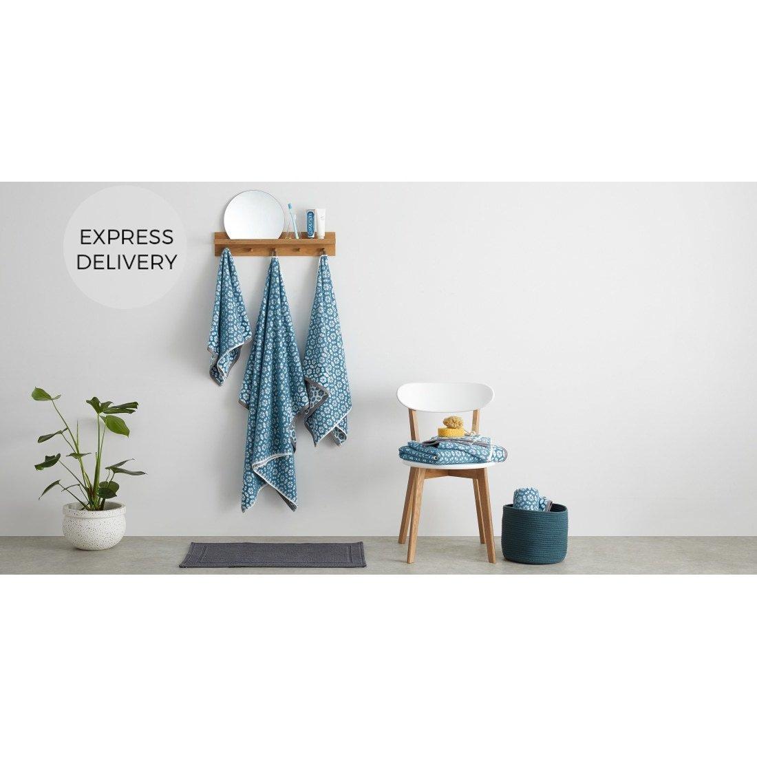 image-Trio 100% Cotton Set of 2 Hand Towels, Blue Slate