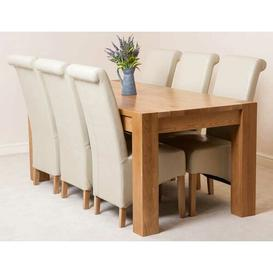 image-Stainbrook Chunky Kitchen Dining Set with 6 Chairs Rosalind Wheeler Colour (Chair): Ivory, Table Size: 77cm H x 180cm L x 90cm W