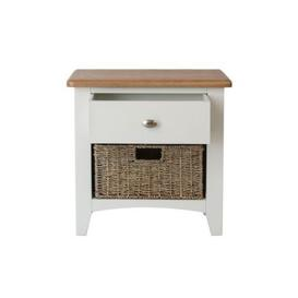 image-Ava Oak & Wicker 2 Drawer Chest White