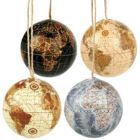 image-4 Piece World Globe Bauble Set