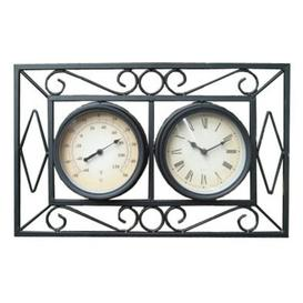 image-Ornate Metal Wall Mount Garden Wall Clock & Thermometer - Black