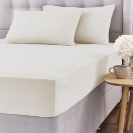 image-Brushed Fitted Sheet Set Silentnight Size: Double (4'6), Colour: Cream