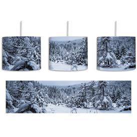 image-Frozen Lake Winter Landscape 1-Light Drum Pendant East Urban Home Shade colour: Grey/White