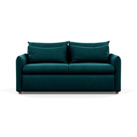 image-Heal's Pillow 3 Seater Sofa Smart Velvet Teal Chestnut Stain Feet