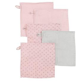 image-Lil Planet Rosa 5 Piece Face Cloth Bale roba Colour: Old Pink
