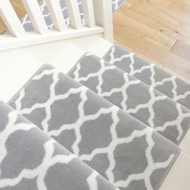image-Modern Grey Trellis Stair Carpet Runner - Cut to Measure