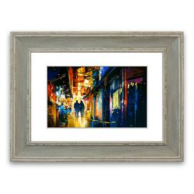 image-'City Night Lights' Framed Graphic Art East Urban Home Size: 40 cm H x 50 cm W, Frame Options: Blue