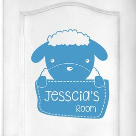 image-Personalised Sheep Kids Door Room Wall Sticker Happy Larry Colour: Blue