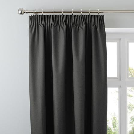 image-Arizona Deep Charcoal Blackout Pencil Pleat Curtains Charcoal (Grey)
