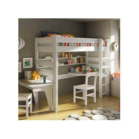 image-Mathy by Bols Dominique High Sleeper with Corner Desk  - Mathy Powder Pink