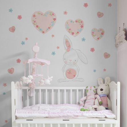 image-Pretty Little Bunny Wall Stickers Pink
