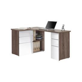 image-Tartufo Corner Desk (Truffle Oak/White Gloss)