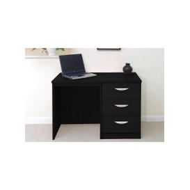 image-Small Office Desk Set With 3 Media Drawers (Black Havana)