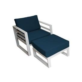 image-LG Outdoor Napoli Aluminium Lounge Chair and Footstool