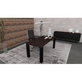 image-Casandra Writing Desk Ebern Designs Colour (Top/Frame): Wenge/Black, Size: 73.5cm H x 200cm W x 100cm D