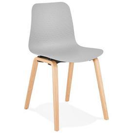 image-Edina Dining Chair Ebern Designs Upholstery Colour: Grey, Leg Colour: Natural