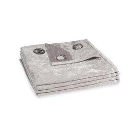 image-Single Grey Velvet Eyelet Curtain 140x300