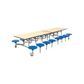 image-Rectangular Mobile Dining Unit With 16 Seats, 65 (cm), Blue/Blue, Free Standard Delivery
