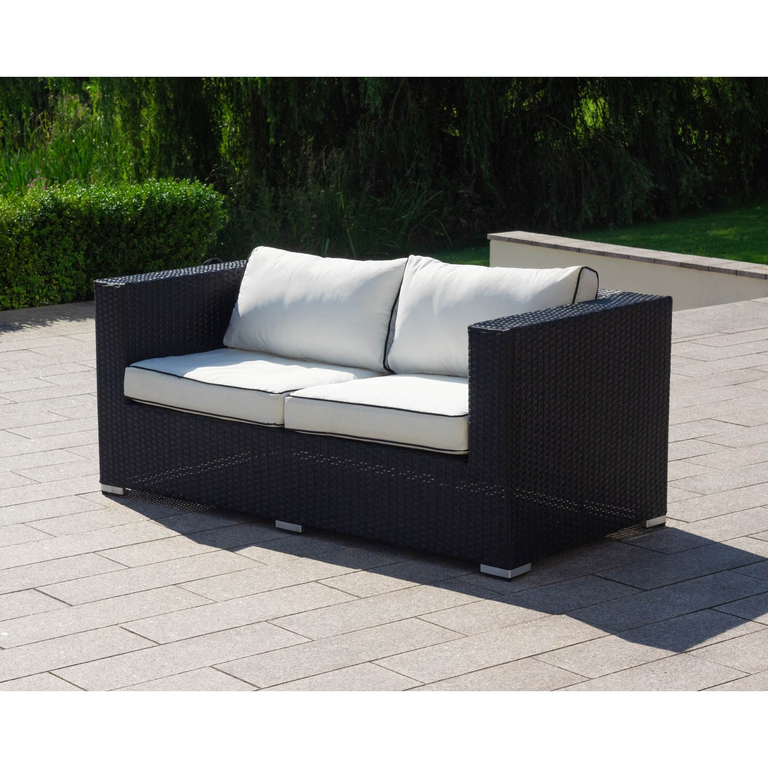 image-Ascot 2 Seat Rattan Garden Sofa in Black and Vanilla
