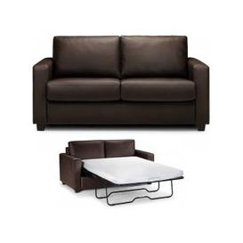 image-Saffy Brown Faux Leather Fold Away Sofabed