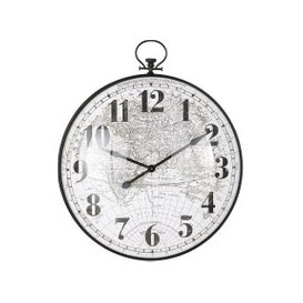 image-Pocket-Watch-Style Clock with Two-Tone World Map Print 101x85