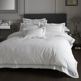 image-Amberwood 180 TC Duvet Cover Set Three Posts Bed Size: Super King - 2 Standard Pillowcases, Colour: White/Charcoal