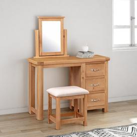 image-Comfrey Dressing Table Set with Mirror August Grove Colour: Natural/Beige