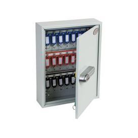 image-Phoenix KC0601S 42 Hook Key Commercial Key Cabinet With Electronic Push Shut Lock, Light Grey