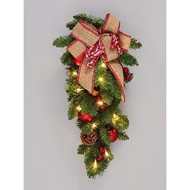 image-Bows &Amp Baubles Teardrop Shape Lit Christmas Wreath/Door Hanger