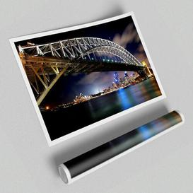 image-'Sydney Harbour Bridge Night Light Reflections Architecture' - Graphic Art on Paper East Urban Home Size: 59.4 cm H x 84.1cm W