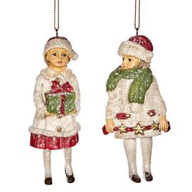 image-6 Piece Xmas Kid with Gift Hanging Figurine Ornament Set (Set of 6) Goodwill