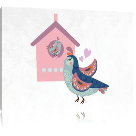 image-Bird and Chick with Bird House Art Print on Canvas East Urban Home Size: 60cm H x 80cm W