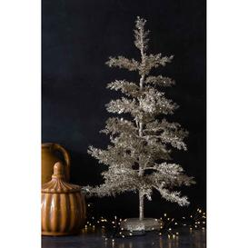 image-Silver Glitter Christmas Tree Table Decoration