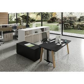 image-Lauri Writing Desk Ebern Designs Colour: Black, Size: 75cm H x 200cm W x 60cm D