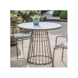image-Teddington Mosaic Ceramic Bistro Table In Bronze Metal Base
