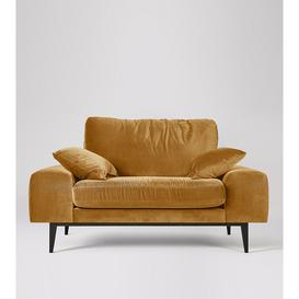 image-Swoon Tulum Contemporary Love Seat in Biscuit Easy Velvet With A Tapered Plinth