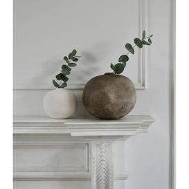 image-Brown Ceramic Textured Vases - Round