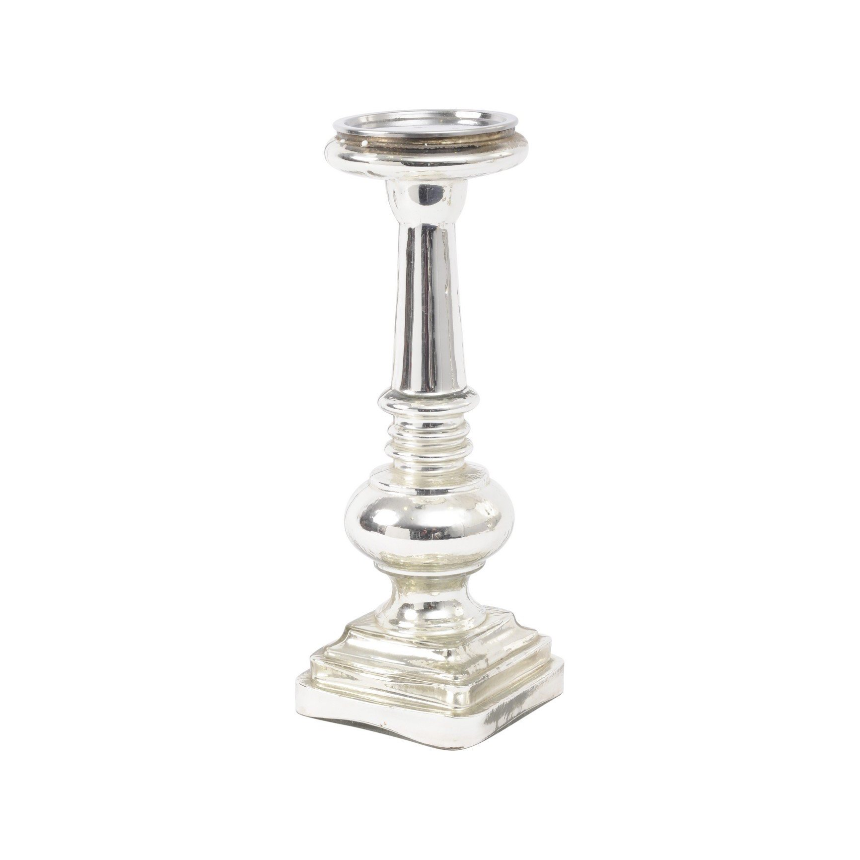 image-Libra Antique Silver Large Pillar Candle Holder - Xmas-19