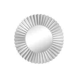 image-Large Round Silver Modern Sunburst Wall Mirror