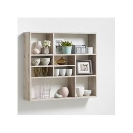 image-Andreas Wall Mounted Shelving Unit In Sand Oak And 9 Compartment
