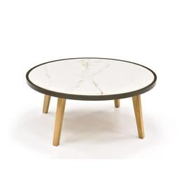 image-Crown Marble-effect Round Oak Coffee Table 80cm, Low, Calcutta White