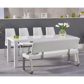 image-Atlanta 200cm White High Gloss Dining Table with Cavello Chairs and Malaga Large White Bench