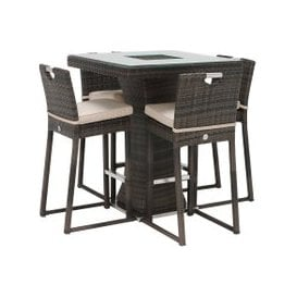 image-Alder Garden 4 Seat Square Bar Set with Ice Bucket, Brown Weave and Beige Fabric