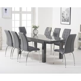 image-Atlanta Dark Grey Gloss 160-220cm Extending Dining Table with Calgary Chairs - Brown, 4 Chairs