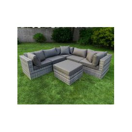 image-Florida 6 Piece Rattan Garden Corner Sofa Set in Grey