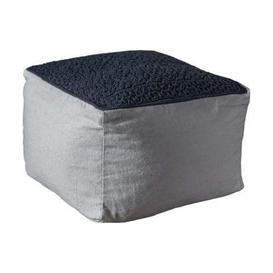 image-Franco Fabric Upholstered Square Pouffe In Charcoal